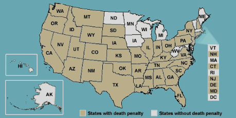 Us states death penalty map