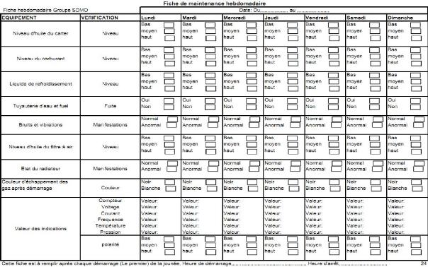 Memoire online mise en place d 39 une politique de for Maintenance d un groupe electrogene