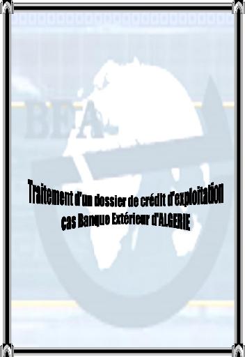 Memoire Online Traitement D Un Dossier De Credit D Exploitation