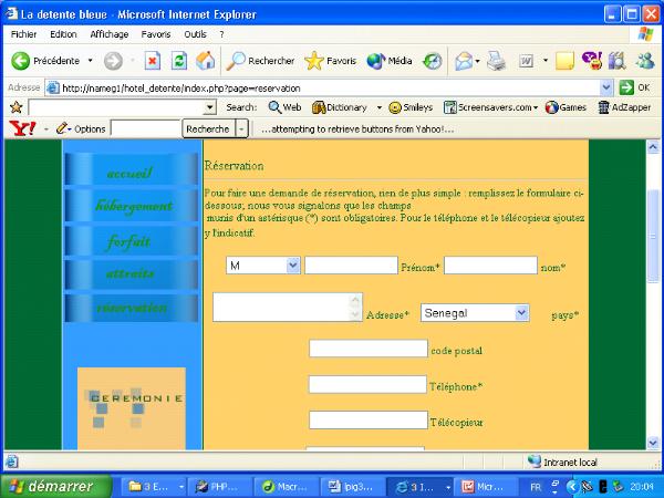 Memoire online etude et realisation du site web de l for Site de reservation
