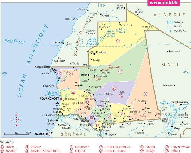 Mauritanie carte géographique
