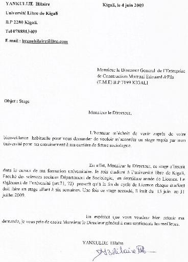 Exemple De Lettre De Remerciement Stage Covering Letter