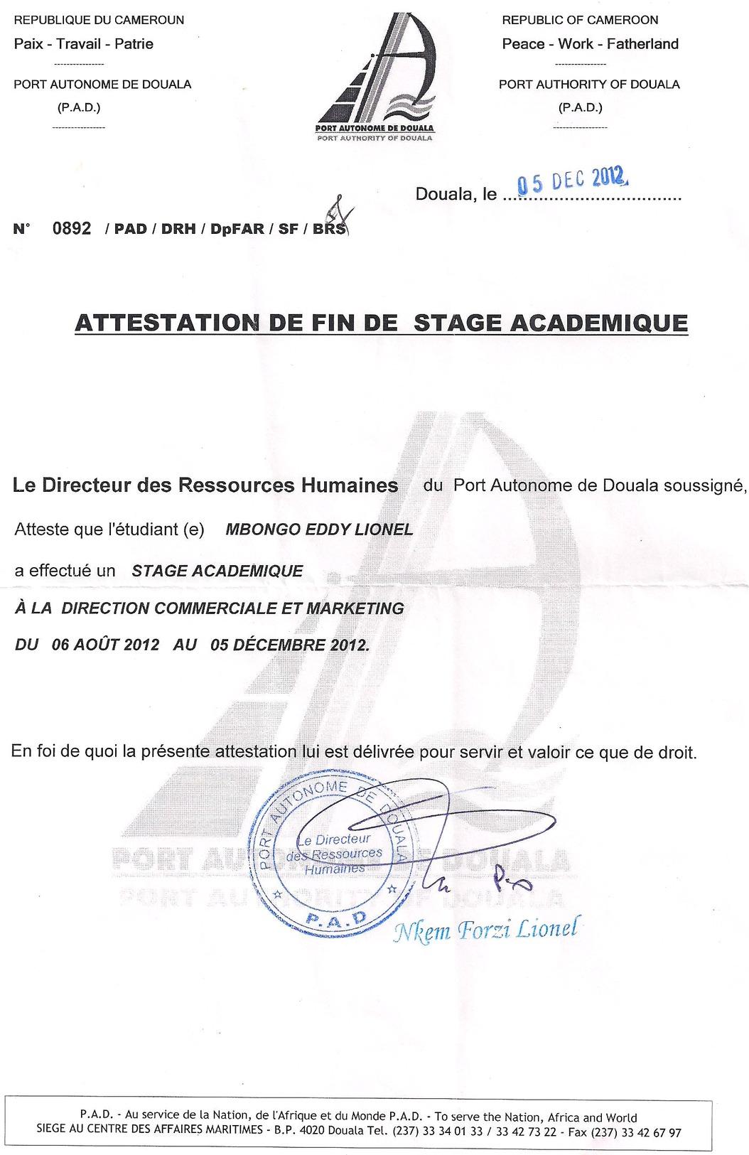 Memoire online renforcement du positionnement du port - Site internet du port autonome de douala ...