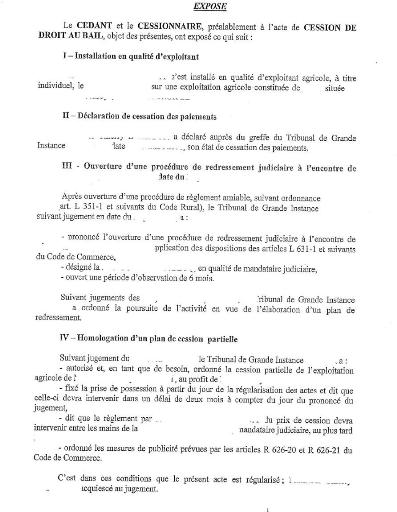 Modele de lettre de resiliation de bail rural par le locataire - Resiliation bail meuble par le proprietaire ...